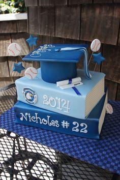 Tiered book cake grad cap cake