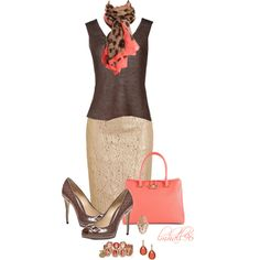 """""""Coral, Brown, and Tan"""" by lmhall96 on Polyvore Maybe not coral though..."""