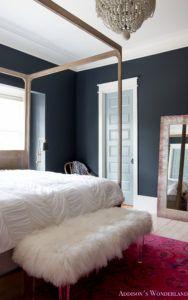 master-bedroom-black-walls-white-wood-bead-chandelier-whitewashed-hardwood-flooring-four-poster-bed-restpration-hardware-inkwell-rug-10-of-19