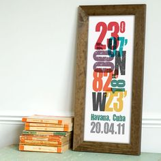 Personalized Coordinate Print  8x20 inches  Unique by beargraphics