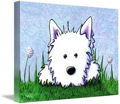 """""""Springtime Westie"""" by Kim Niles, Oak Harbor // Westie Terrier dog art print by Kim Niles.  FOR CANVAS PRINTS: Default shown is 'Black' edges, If you select 'ImageWrap', 3/4' to 1-1/2' of each edge of the art will not show on the front as pictured here, because it will be used over the sides! Obviously, the composition of... // Imagekind.com -- Buy stunning fine art prints, framed prints and canvas prints directly from independent working artists and photographers."""