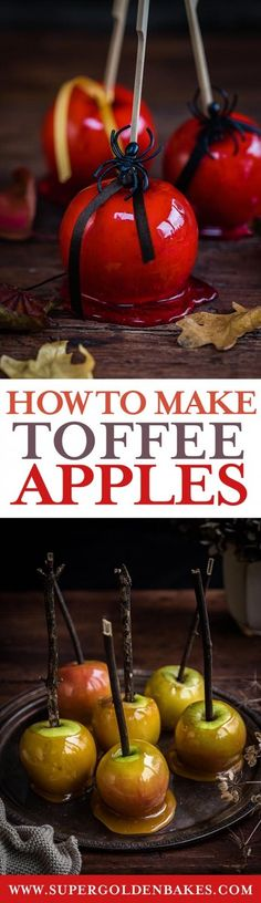 It wouldn't be Halloween or Bonfire night without toffee apples 🙂 They are sweet and delicious and actually quite easy to make. Take a look at my video and tips for foolproof toffee and candy apples. Halloween Drinks, Halloween Food For Party, Halloween Treats, Fruit Recipes, Apple Recipes, Holiday Recipes, Sweets Recipes, Fun Desserts, Delicious Desserts