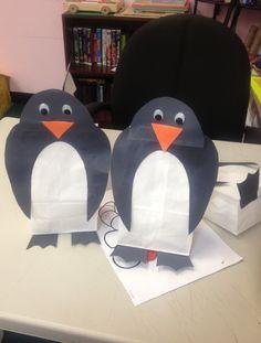 Paper bag penguin craft