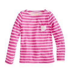 Grace  Girls' long-sleeve sequin-heart pocket tee in stripe