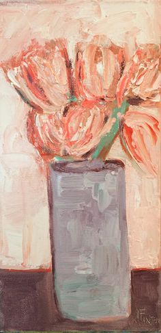 Vased Flowers::Fauvist Modern Milton Avery Primitive Naive Art Abstracted Landscapes Stilllifes : JILL FINSEN PAINTINGS
