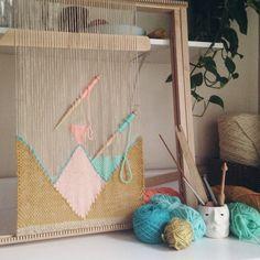 Weaving studio wall hanging on the loom by Maryanne Moodie www.maryannemoodie.com