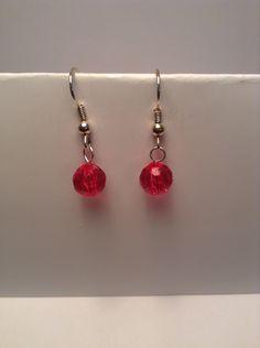 Hot pink crystal drop earrings by Shaylasjewelrybox on Etsy