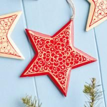 Nordic Handpainted Red Star Decoration