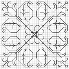 This is a blackwork design. would work for quilting Motifs Blackwork, Blackwork Cross Stitch, Blackwork Embroidery, Paper Embroidery, Cross Stitch Charts, Cross Stitch Designs, Cross Stitching, Cross Stitch Embroidery, Embroidery Patterns