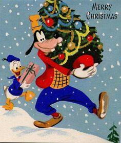 Above is a sketch for an unused Walt Disney Studio greeting card created by an uncredited artist in the early Over 70 years later,. Noel Christmas, Disney Christmas, Retro Christmas, Vintage Christmas Cards, Christmas Pictures, Xmas Cards, Holiday Fun, Christmas Decor, Primitive Christmas