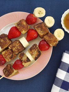 french toast on a stick  1 cmilk  2 large eggs  1 tbs honey  1 tsp ground cinnamon  4 c brioche, french or sandwich bread (cut into 2 inch cubes)  1 tbs butter or oil  16 strawberries, stems removed  2 bananas, sliced into 1/2 inch coins  8 wooden skewers