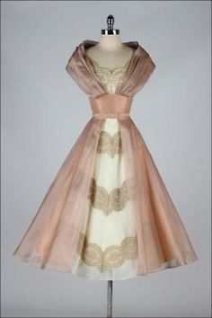 1950's Luscious Organza and Lace Cocktail Dress by lucinda
