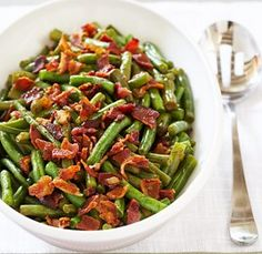This sounds delicious and especially easy to make for the holidays: Slow Cooker Green Beans and Bacon