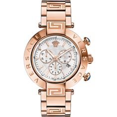 Versace Versace:Reve Chrono 46mm White Dial Iprg Bracelet Watch ($1,797) ❤ liked on Polyvore featuring jewelry, watches, rose gold, logo watches, bezel watches, chronos watch, stainless steel watch bracelet and chronograph bracelet watch