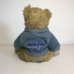 Hard Rock Cafe Orlando Collectible Bear Plush Doll w/ Jean Jacket Hard Rock Cafe Orlando, Plush Dolls, St Kitts, Cambodia, Trinidad And Tobago, Teddy Bear, Jacket, Games, Toys