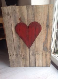 Red heart on waxed timber.  Pallet wood. £30 each plus p&p.  etherealdesigns@hotmail.co.uk Pallet Wood, Wood Pallets, Ethereal, Pewter, Sticks, Upcycle, Recycling, Copper, Heart