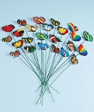 24 Garden Stake Butterfly Yard Metal Decor Art Outdoor Home Lawn Color Patio New