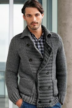 Knitting Patterns Cardigan Men& hand knit cardigan with pockets. Any Sizes a. Mens Knit Sweater, Hand Knitted Sweaters, Sweater Cardigan, Crochet Cardigan, Handgestrickte Pullover, The Cardigans, Double Breasted, Hand Knitting, Knitting Patterns