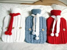 Frosty blue winter warmer hot  water bottle sweater / cover and scarf set. £29.00, via Etsy.