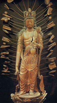 11-Headed Kannon, Wood, Hokkeji Temple 法華寺, Nara, First Half 9th Century. Holds water jar containing Jōsui 浄水,a miraculous elixir...