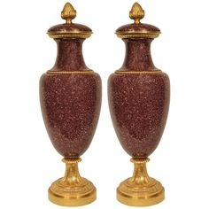 Russian early 19th century porphyr and ormolu urns | From a unique collection of antique and modern vases at http://www.1stdibs.com/furniture/dining-entertaining/vases/