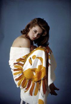Jane Fonda in Vera beach towel, photo by Zinn Arthur