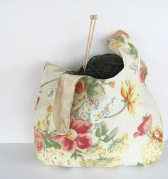 Floral Yarn Bag Large Knitting Project Bag Self by OvationStudio