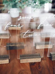 Acrylic Table Numbers with Wood Stand Wedding Signage, Wedding Seating, Diy Wedding, Dream Wedding, Wedding Favors, Wedding Ideas, Wedding Centerpieces, Wedding Decorations, Acrylic Table