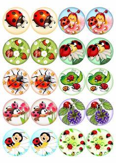 КАРТИНКИ для скрапбукинга и декупажа :) | VK Bottle Cap Art, Bottle Cap Crafts, Bottle Cap Images, Diy And Crafts, Crafts For Kids, Arts And Crafts, Paper Crafts, Ladybug Crafts, Glass Magnets