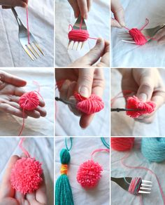 How to make a mini pom pom using a fork step by step plus a quick bag tassel charm