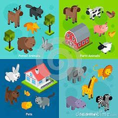Buy Isometric Animals Set by macrovector on GraphicRiver. Animals design concept set with isometric forest farm and zoo animals and pets isolated vector illustration. Forest Animals, Zoo Animals, Animals And Pets, Funny Animals, Conceptual Photography, Animal Photography, Funny Animal Videos, Animal Design, Dog Friends