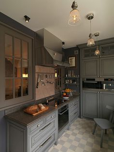 Apartment, Wonderful Grey Kitchen Cabinets With Interesting Chandelier And Awesome Floor Patterns: 13 Fox Masques Apartment: Comfort and Cozy Living