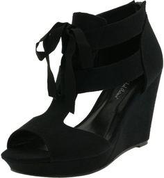 Michael Antonio Womens Gee Wedge Sandal in Black - Lyst $55 #wedge #lace