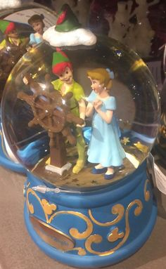 """disney parks peter pan flight with wendy musical snow globe measures appr. 6"""" new"""