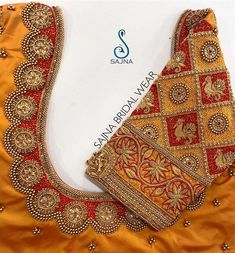 Beautiful mustard yellow color designer blouse with swan and floral design hand embroidery gold thread and bead work on sleeves and neckline. To get your outfit customized visit at Chenna i 08 October 2019 Cutwork Blouse Designs, Stylish Blouse Design, Fancy Blouse Designs, Bridal Blouse Designs, Saree Blouse Neck Designs, Blouse Designs Catalogue, Maggam Work Designs, Designer Blouse Patterns, Hand Designs