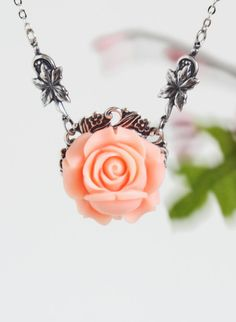 Peach Necklace Peach Rose and Silver Leaves