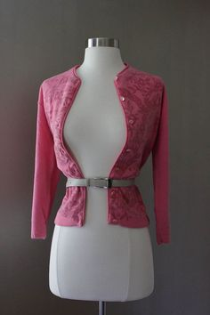 1950s Pink Cardigan Sweater  Velvet Floral by SalvatoCollection, $37.35
