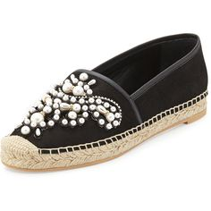 Rene Caovilla Pearly Bead Espadrille Flat featuring polyvore, fashion, shoes, flats, black, black leather espadrilles, leather espadrilles, slip on shoes, leather flats and black leather shoes