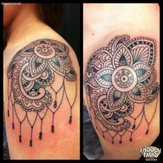 shoulder cap tattoo | Lace Shoulder Cap - Hidden Hand Tattoo Seattle, WA
