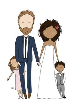 Custom family portraits for special holiday gifts a run down on different artists, cost and turn around time. Wedding Illustration, Family Illustration, Portrait Illustration, Tree Illustration, Diy Xmas Gifts, Holiday Gifts, Interracial Art, Rock Family, Stick Figure Family