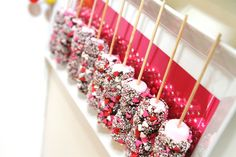 Kids Party Food - marshmellow sticks rolled in choc then sprinkles @Bri W. W. W. W. Steffen Villanueva-Roberts, picture these with yellow, blue, and red sprinkles.