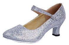Honeystore Womens Soft Ground Mary Jane Glitter Dance Shoes Silver 65 BM US -- See this great product.