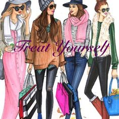 Fashion Illustration of girls friends going out for shopping by Houston fashion Illustrator Rongrong DeVoe. More sketches on www. Arte Fashion, Fashion Wall Art, Fashion Prints, Trendy Fashion, Girl Fashion, Style Fashion, Girly, Illustration Mode, Friends Illustration
