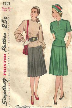 Simplicity 1721 // Vintage 40s Sewing Pattern // Skirt Blouse Dress Suit // Size 14 Bust 32