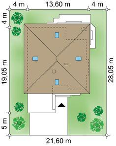 Działka 21.60 × 28.05 m domu Origami III G Origami, Bar Chart, House Plans, How To Plan, Home Plans, Paper Folding, Bar Graphs, House Floor Plans, House Design