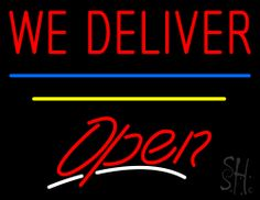 We Deliver Open Blue & Yellow Line Neon Sign 24 Tall x 31 Wide x 3 Deep, is 100% Handcrafted with Real Glass Tube Neon Sign. !!! Made in USA !!!  Colors on the sign are Red, Blue, Yellow and White. We Deliver Open Blue & Yellow Line Neon Sign is high impact, eye catching, real glass tube neon sign. This characteristic glow can attract customers like nothing else, virtually burning your identity into the minds of potential and future customers.