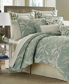 Tommy Bahama Home, Bamboo Breeze Comforter Sets - Designer Comforters - Bed & Bath - Macy's.  I like the pillows with the square designs - they'd look good in the guest bedroom.