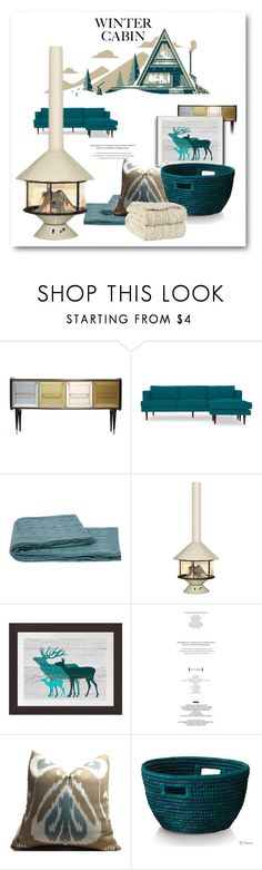 """Mid-Century Cabin"" by metter1 ❤ liked on Polyvore featuring interior, interiors, interior design, home, home decor, interior decorating, Joybird, StyleNanda and cozycabin"