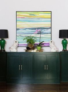 """Love this bright, colorful, print-infused and family-friendly contemporary interior design style as much as we do? Get all the inspirational style tips, interior design ideas and see the full home tour from """"Steal Decorating Ideas from Jenn Feldmann's Whimsical, Wallpaper-Packed Home"""" over on our Style Guide!"""