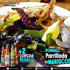 Disfruta los domingos en tu #Restaurante #NoMeOlvides.  Promo del día #ParrilladaDeMariscos y nosotros te ofrecemos 2 cervezas de cortesía, has tu domingo diferente y ven a disfrutar de nuestra parrillada.  #DomingoSiAbrimos